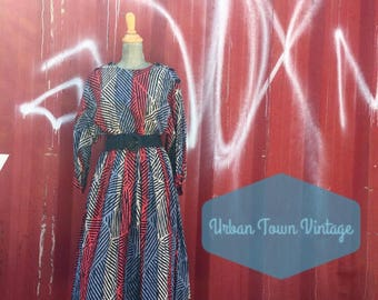 Vintage Wide Striped Red Blue And Taupe Button Shoulder Dolman Sleeve Dress (Size Medium/Large)