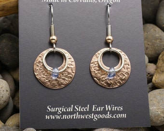 Copper dangle earrings surgical steel ear wires