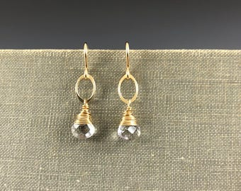 Clear Quartz Drop Earrings in Gold-Fill
