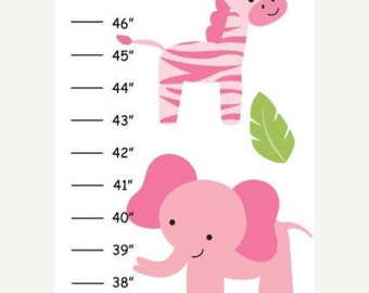 Personalized Safari Adventure for Girls Canvas Growth Chart