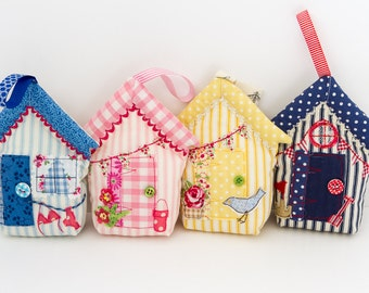 Fabric Beach Hut Hanging Decoration, Stuffed Hanging House, Christmas Gift for Her, Door Hanger, Housewarming Gift, New Home Gift