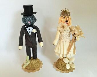 "Labradoodle BRIDE & GROOM spun cotton WEDDING cake toppers vintage style spun cotton 5"" figures / wedding keepsakes"