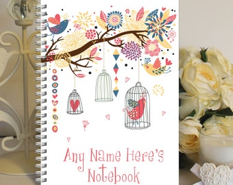 Personalised A5 Notebook Notepad Wirebound Softbacked Birdcage Themed