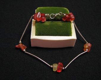 Vintage Modernist Sterling Silver Red Coral Carnelian Crystal Stone Beaded Bar Link Bracelet