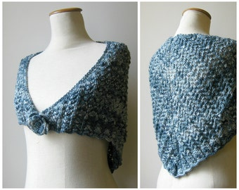 Triangle Shawl Knitted in Variegated Blue Wool - Hand Knit Lace Scarf, Half Wrap Scarf, Hand Knit Lace Triangle, Wool Shawl, Variegated Blue