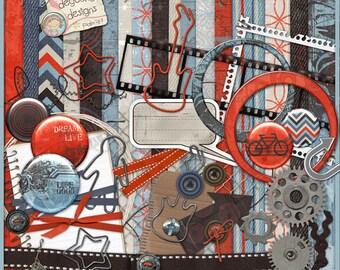 Rock and Roll Digital Scrapbook Kit, 90's Grunge clipart, urban art digital paper tangerine orange, blue, brown industrial style decor