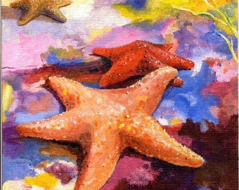 Acrylic Painting Starfish in LOVE... Colorful 8X10 Ocean Beach House Decor  Quality Art print by Barry Singer
