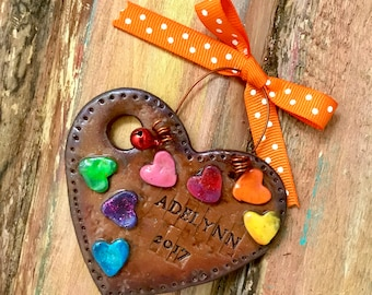 Keepsake Personalized Artist Palette / Painter / Illustrator / Paint / Coloring Polymer Clay Ornament