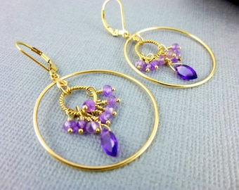 Amethyst Chakra Earrings, Crown and Third Eye Chakra Earrings, 14K Gold Fill Hoop Earrings, February Birthstone, Healing Energy Crystals