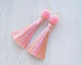 Pink and Gold silk tassel and beaded ball earrings - Statement Earrings - Lightweight  Dangle long tassle earrings - Fringe earrings