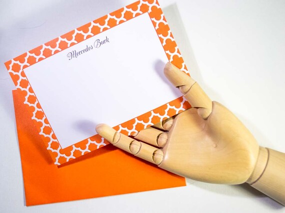 Personalized Orange Trellis Notecards, Customized Stationery