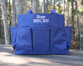 Monogrammed Large Navy Carry All Utility Tote