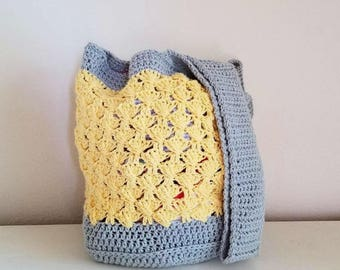 Round Bottom Textured Fan Tote Crochet Pattern *PDF FILE ONLY* Instant Download