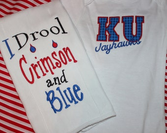 University of Kansas Jayhawks baby gift- bodysuit and burpcloth I drool crimson and blue
