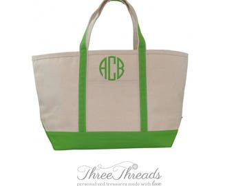 Large Monogrammed Boat Tote, Beach Bag, Bridesmaid Totes, Women's Gift, Bridesmaid Bags, Overnight Bag