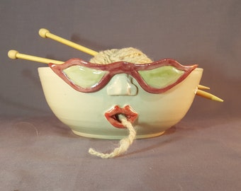 Handmade Pottery Yarn Bowl with Face, Wool Bowl, Sculpted Face Yarn Bowl. Novelty Gift. Yarn Bowl with Face.  Rockabilly