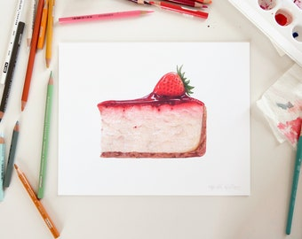 Cheesecake with Strawberry Illustration // 8x10 Food Art Print // Art for bakery