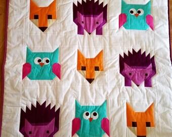 Fox, Owl, Hedgehog Baby Quilt