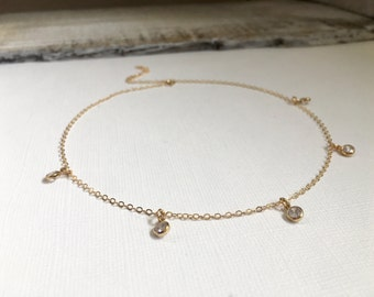 Gold Filled CZ Bezel Choker Necklace, Wedding Jewelry, Modern Choker