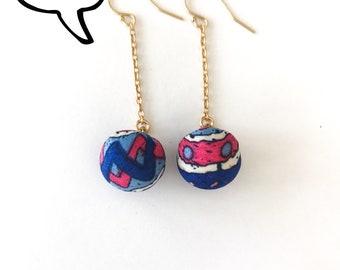 Fabric earrings,boho earrings, dangle earrings, gold earrings with fabric, gift for her, simple  earrings,everyday earrings