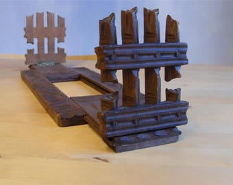 Vintage expandable book ends from Brienz Switzerland, hand carved