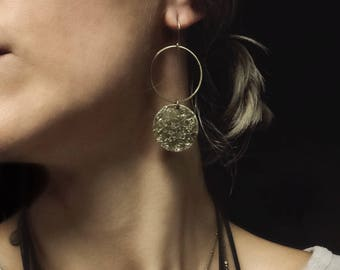 CIVAL Collective - Carrie | Long Textured Brass Earrings | CIVAL Jewelry Designs | Long Golden Brass Circle Drop Earrings