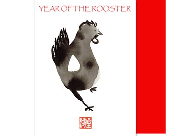Year of the Rooster Chinese New Year Card, Custom birthday card, New Baby Card, with lucky red envelope, new baby shower invite, chicken