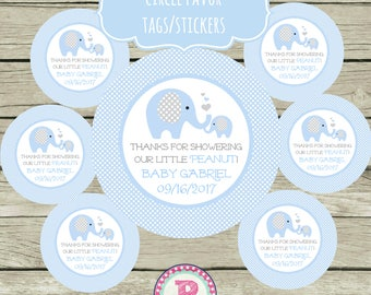 Personalized Elephant Baby Shower Circle Favor Tags Stickers Thank You for showering our Little Peanut Blue Gray Baby Boy