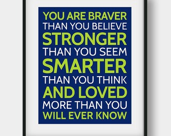 60% OFF You Are Braver Than You Believe Stronger Than You Seem Print, Winnie The Pooh Quote, Kids Room Decor, Winnie The Pooh Printable Art