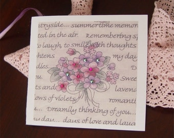 Gift tag, hang tag, gift wrap, folded, flowers, gems, gift cards, sparkles