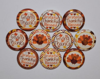"""Thanksgiving / turkey / fall buttons / thankful bottle cap / blessed/ buttons /  1"""" buttons / flat back / pin / magnet/ hair bows /#111"""