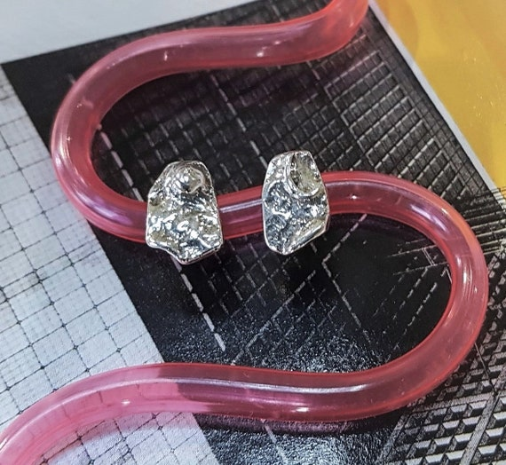 unique stud earrings | mismatched earrings | sterling silver studs | art jewelry