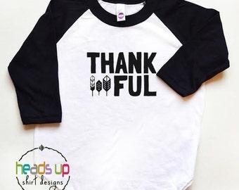 Thanksgiving Tee Toddler/Kid/Baby - Thankful Raglan Shirt Toddler Boy/Girl - Thanksgiving Baby tshirt - Trendy - Hipster - Turkey t shirt -