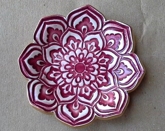 Ceramic Lotus Ring Dish  3 1/4 inches round Berry Red edged in gold
