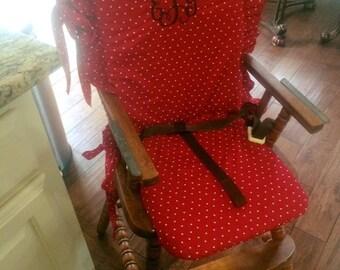 wooden high chair pad, vintage, monogrammed, high chair cushion