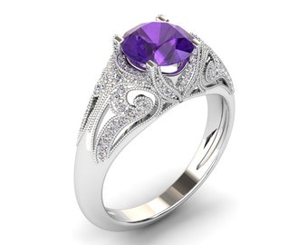 Amethyst Engagement Ring 1.00 Carat Amethyst And Diamond Vintage Style Ring In 14k or 18k White Gold. Wedding Set Available