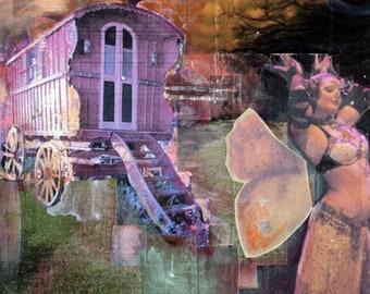 Burlesque, Butterfly, Wings, Gypsy, Caravan, Wagon, Bellydancer, Sunset, Purple, 8 x 10, Fine Art Print, Wall Decor