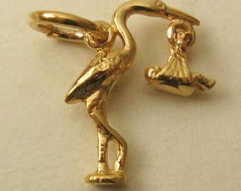 Genuine SOLID 9ct YELLOW GOLD 3D Stork and Baby charm pendant