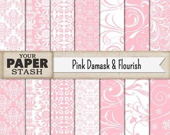 Damask Digital Paper, Pink Damask, Pink Flourish, Pink Scrapbook Paper, Baby Girl, Scrapbook Paper, Digital Paper Pack, Commercial Use