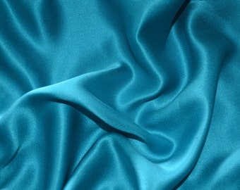 "SK011Sale Item  100%  Pure Silk Lightweight Teal  Color  Width 45"" Fabric   By 1 Yard"