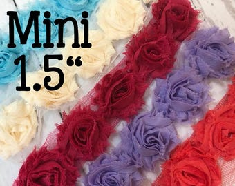 """10 Mini Shabby Chic Flowers, Approximately 1.5"""" Flowers on Trim, Shabby Flowers, Shabby Chic Flowers, Sold in Sets of 10 Per Color"""