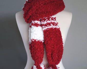 Hand Knit Festive Scarf, Christmas Knit Scarf, Red White Knit Scarf, Unisex Holiday Scarf, Unisex Festive Scarf, Winter Holiday Scarf