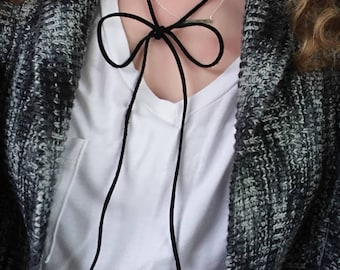 """Choker Necklace... NEW """"Lil Black Bow"""" genuine leather wrap around choker necklace."""