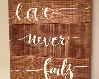 Love Never Fails Pallet Sign