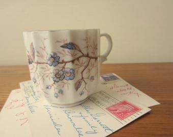 Ribbed porcelain tea cup.  Vintage ribbed porcelain coffee mug.