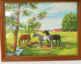 Paint By Number Painting of Horses In A Farm Field, Natural Wood Frame, Vintage Painting of Horses