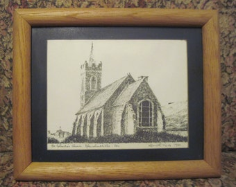 Vintage Print of St. Columba's Church of Ireland. Glencolumbkille Architectural Signed Art Print by Kenneth King, 1980. Irish Church Print.
