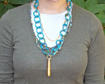 3 Strand Seed Bead, HXP Bullet, Teal Aluminum, and Gold Finished Steel Chain Necklace