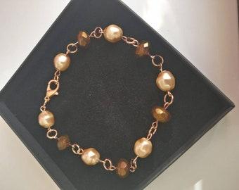 Rose Gold and Pearl link Bracelet