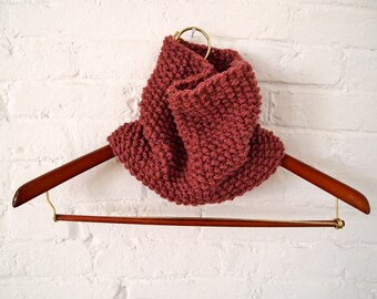 Hand Knit Blush Pink Cowl, Ships Free